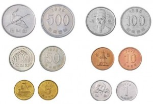 Pièces de 1,5,10,50,100 et 500 won