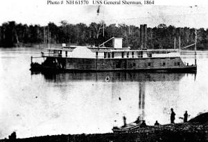 photo unique du navire américain USS général Sherman en 1864